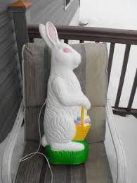 vintage easter bunny stake lites lights plastic blowmold easter