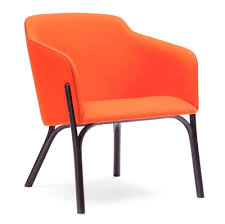 Orange Armchair Wooden And Upholstered Armchairs Ton A S Hancrafted For