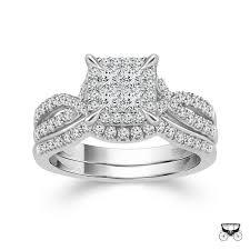 princess cut wedding set 10k white gold 1cttw invisible set princess cut halo diamond