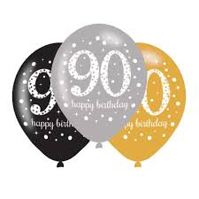 happy birthday balloon 6 x 90th birthday balloons black silver gold party decorations age