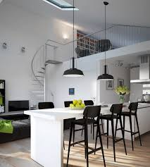apartments modern monochrome green apartment kitchen dining