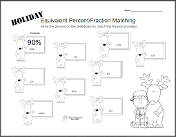 holiday equivalent fraction percent worksheet squarehead teachers