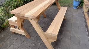 Free Plans For Building A Picnic Table by Folding Picnic Table Made Out Of 2x4s Youtube