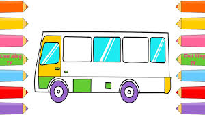how to draw car bus coloring page learn colors with