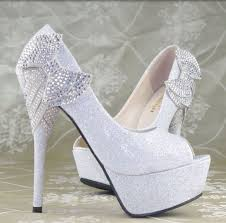 princess wedding shoes glitter royal bows platform high heels princess wedding