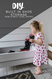 diy shoe storage for a split level entry lemon thistle