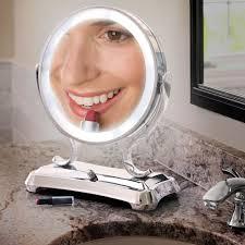 light up makeup mirror the largest view lighted vanity mirror hammacher schlemmer