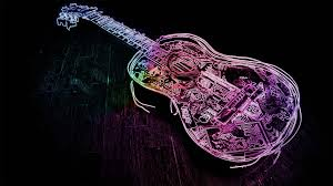 wallpaper pink guitar glowing neon guitar outline hd dance and music wallpapers for