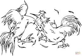 fighting roosters coloring page free printable coloring pages