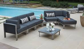 Woodard Wrought Iron Patio Furniture Furniture Outdoor Furniture Metropolis Sectional With 2 Mini