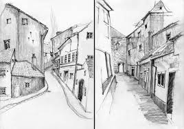 black and white sketches of urban landscapes in europe by