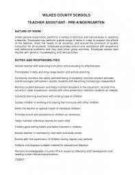 Resume Job Duties 11 Kindergarten Teacher Resume Resume Preschool Teacher Resume