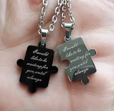 his and hers engraved bracelets puzzle connecting his and hers pendants for 2 personalized couples