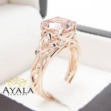 pink morganite pink morganite engagement ring 14k gold cushion ring