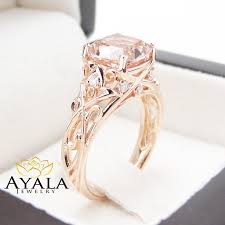 morganite engagement ring gold pink morganite engagement ring 14k gold cushion ring