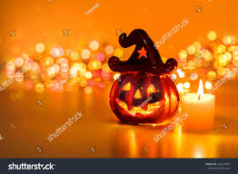 halloween pumpkins background halloween pumpkin with candlelight and bokeh background stock