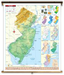 Universal Map New Jersey State Thematic Classroom Map On Spring Roller From