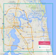 Map Of Jacksonville Fl Jacksonville Florida Lyft Coverage Map Rideshareapps Com
