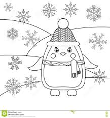 coloring page with penguin and snowflakes educational game