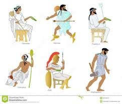 a set of ancient greek gods and goddesses stock illustration
