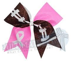 football ribbon tackle breast cancer glitter bow