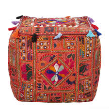 Indian Traditional Living Room Furniture Ellie Indian Embroidered Pouf This Handmade Cube Pouf Is