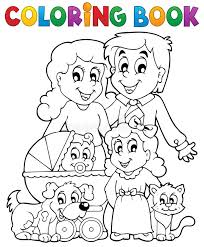 coloring book family theme royalty free stock photo image 37075285