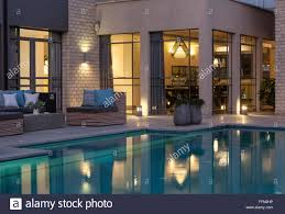 villa in cesaria israel the swimming pool at night with stock