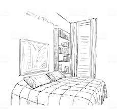 hand drawn bedroom interior sketch stock vector art 539642236 istock