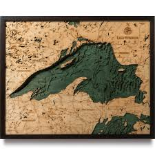 Map Of Lake Superior Lake Superior Wood Map 3d Nautical Topographic Chart Framed Art