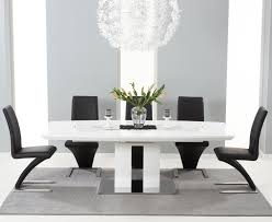 High Gloss Extending Dining Table Sophisticated Extending Black Glass And White High Gloss Dining