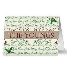 personalized family names greeting cards