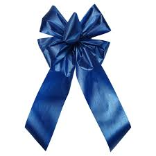 blue bows bows blue poly satin waterproof bow 6 inch