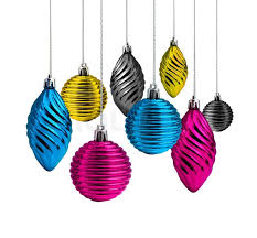 cmyk colour decoration balls and cones stock photo