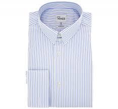 regular fit white light blue stripe two fold tab collar double