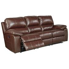 leather match power reclining sofa w adjustable headrest by
