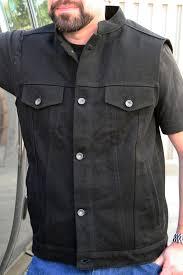 biker jacket vest black denim vest crank u0026 stroker