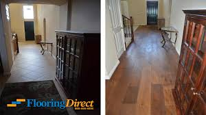 shown above are before after photographs from a flooring
