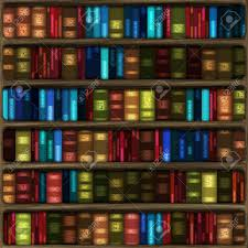 computer generated cartoon of six fully stocked bookshelves with