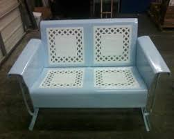 Patio Furniture Glider by Vintage Metal Glider Lattice Loveseat Blue And White Patio