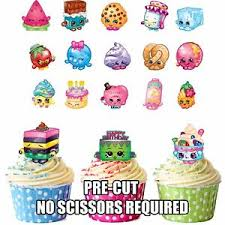 edible cake decorations precut shopkins birthday party pack 36 edible cupcake toppers cake