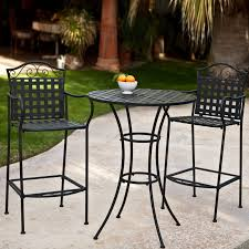 Patio Furniture Bar Height Set - belham living wrought iron bar height bistro set by woodard