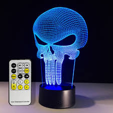 the punisher skull 3d acrylic usb color changing led night light