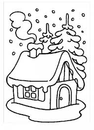 house covered snow winter coloring kids play color