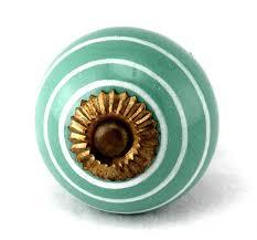 teal white stripe onion ceramic cabinet door knob set 2pc k113