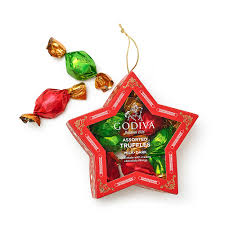 chocolate filled ornament 10 pc godiva