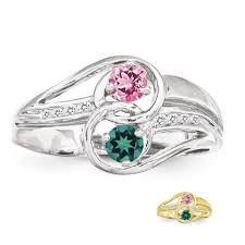 mothers rings 2 stones personalized diamond accented 2 or s ring in