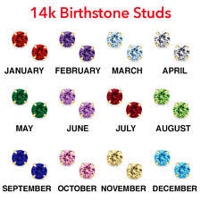 s birthstone earrings cubic zirconia birthstones stud fashion earrings ebay