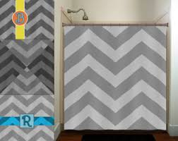 Gray Chevron Shower Curtain Name Shower Curtain Etsy