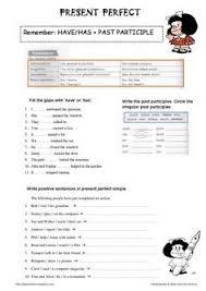 present perfect tense printable worksheet ile ilgili görsel sonucu